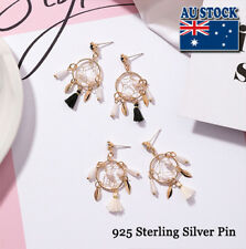 18K Gold Plated Hollow Dream Catcher Sterling Silver Pin Earrings Party