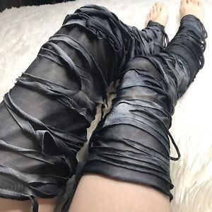 Mummy Bandage Leg Warmers Gray Striped Socks Burning Costume Man Thigh Highs Psy