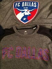 FC DALLAS Soccer club Sweatshirt Heather grey HUGE LOGO (SMALL) adidas {LOT X 2}