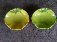 "Williams Sonoma 5"" Yellow Green Tomato Shaped Dipping Bowls Fruit Snacks ( 2 )"