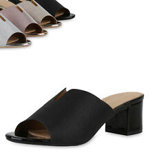 Damen Pantoletten Sandaletten Lack Glitzer Party Schlupf-Schuhe 900156 Top
