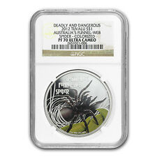 2012 Tuvalu 1 oz Silver Funnel-Web Spider Colorized PR-70 NGC - SKU #87991