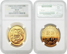 Singapore 1988 Dragon X-MB41 100 Dollars 1 oz Gold NGC MS69