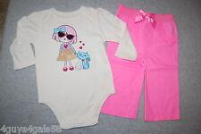 Baby Girls L/S BODYSUIT T-SHIRT White GLAMOUR GIRL & KITTEN Pink Pants 6-9 MO