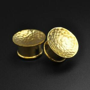 Brass Ear Gauges Plugs Hammered Mayan Flare Concave brass Plug SIBJ Quality