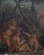 Ancien Tableau Huile Allégorie Putti Oiseau Suiveur François Boucher A RESTAURER