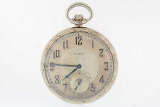 Antique Elgin 14k White Gold Filled 8s Giant Case Co. 17 Jewel Pocket Watch