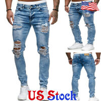 Men Slim Fit Biker Jeans Elasticised Waist Ripped Skinny Denim Pants Trousers