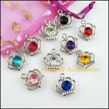20Pcs Dull Silver Plated Mixed Crystal Crown Charms Pendants 19mm