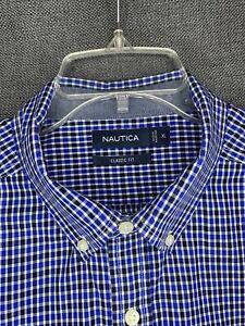 Mens Nautica Blue Black button up Short sleeve shirt classic fit XL