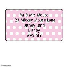 130 x Personalised Address Mini Labels Pink Spot Background Stickers Moving-371