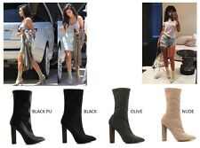 Womens Pointy Toe Stretch Pull On Sock Ankle Boot Booties Block Chunky High Heel