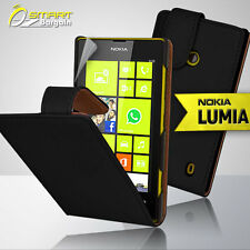 Black Flip Leather Case Cover for Nokia Lumia 520 Pouch + Screen Guard