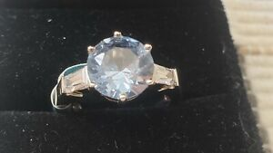 STERLING SILVER 925, CRYSTAL RING, Size 8 ,6.0 grams