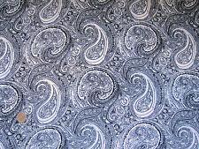 "White Black 60s Style Paisley Soft Drape Viscose Fabric Material 60"" Wide Retro"