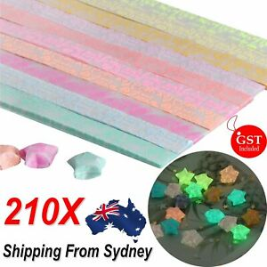 210x Origami Luminous Lucky Wish Star Paper Strips Glows in the dark Craft Gift