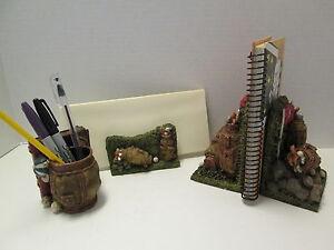 Golf Motif 3-Piece Desk Set, Heavyweight Bookends, Letter Holder, Pencil Holder