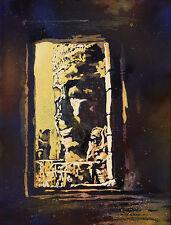 Watercolor painting of Bayon temple- Angkor Wat, Cambodia.  Art print giclee