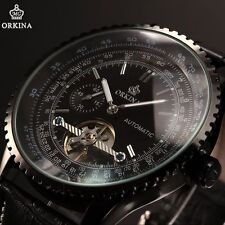 ORKINA Luxury Mens Black Leather Automatic Mechanical Wrist Sport Watch+Gift Box