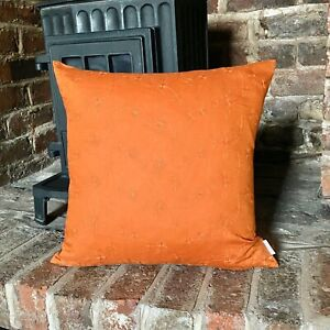 750. Handmade Embroidered orange flowers 100% Linen Cushion Cover Various sizes