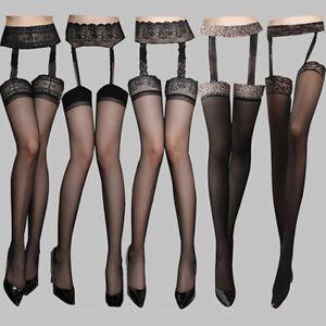 Women's Black Lace Stockings Pantyhose Suspender Garter Belt Thigh High Socks