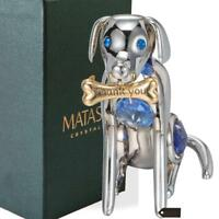 Chrome Plated Silver Dog & Bone with Blue Crystals by Matashi