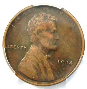 1914-D Lincoln Wheat Cent 1C - Certified PCGS XF Details - Rare Key Date Penny!