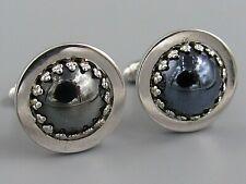 Hematite Costume Jewelry O63 Mens Vintage Cufflinks Prong Set
