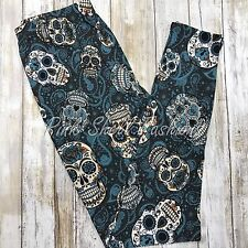 NWT Sugar Skull Paisley Leggings Buttery Soft One Size 2-12 OS