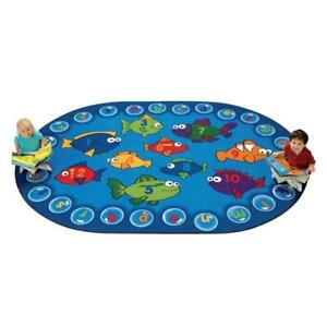 Carpets For Kids 6803 Fishing for Literacy 3.83 ft. x 5.42 ft. Oval Carpet