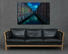 Buildings River Moonlight Reflection Blue Architecture Wall Art Print Canvas Big