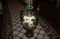 Chinese Japanese Satsuma Moriage Urn Vase Double Handles Marked Floral