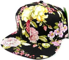 HAWAIIAN PRINT SNAPBACK HAT CAP FLAT BILL FLORAL HAWAII FRESH PRINCE BLACK  NEW