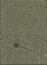 """""""Shabby Chicks"""" Print rose on sage green Fabric by Kathy Brown for Troy Corp."""