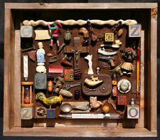 """Drew Strouble Assemblage Art - """"Who Threw the Wrench Into the Sands of Time"""""""