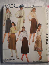 McCall's Women's Skirts Pattern# 7753 Size 10 MADE-FOR-YOU 1981