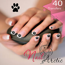40 x Nail Art Water Transfers Stickers Wraps Decals Dog Paws Black