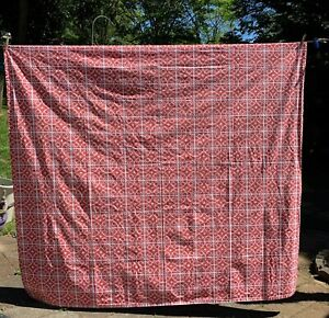 """Crate and Barrel Shower Curtain Taza Coral Funky Orange White Cotton Fabric 72"""""""