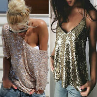 Womens Sequin Bling Shirts Blouse Lady Short Sleeve/Sleeveless Top Clubwear 6-16
