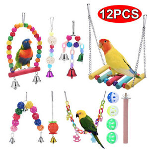12 Pack Parrot Set Toys Metal Rope Small Ladder Stand Budgie Cockatiel Cage Bird