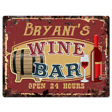 PMWB0409 BRYANT'S WINE BAR OPEN 24HR Rustic Chic Sign Home Store Decor Gift
