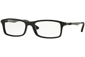 NEW Authentic Ray Ban 7017F-2000 Shiny Black Eyeglasses  56-17-145