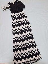 Rachel Kate Maxi Dress Women's Medium M Black White Chevron Print Big Bow