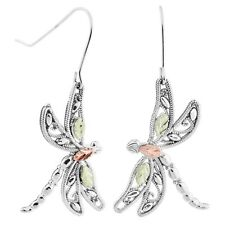 Black Hills Gold dragonfly earrings womens 12k BHG on .925 sterling silver