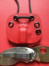 Red Kydex Neck Sheath For Spyderco C29 SS Cricket RH Tip Down Only A Sheath