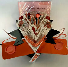 "3D Pop Up Greeting Card ""Made for Each Other� Swans Valentine Card & Envelope"