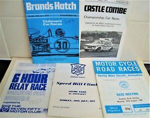 Vintage Car & Motorcycle Race Programmes Lot x 5  1970s 80s inc Brands Hatch
