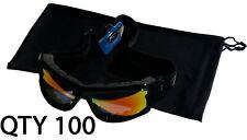 "Qty 100 Ski Winter Recreation Snowboarding Pouches Soft Pouch Black Bag 6""x10"""