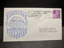 USS WILLIAMSBURG AGC-369 Naval Cover 1947 PAVAN INDEPENDENCE DAY Cachet