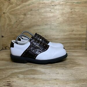 FootJoy DryJoy Tour AquaFlex Leather 53636 Golf Shoes, Men Size 8M, White/Brown